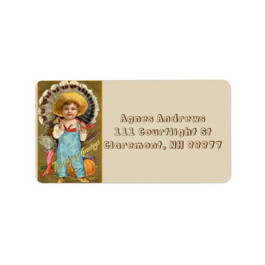 Vintage Thanksgiving Greetings Boy Label