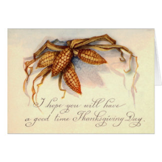 Vintage Thanksgiving Greetings & Corn Card