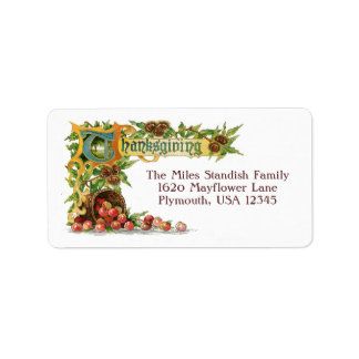 Vintage Thanksgiving Illuminated Greeting Custom Address Labels