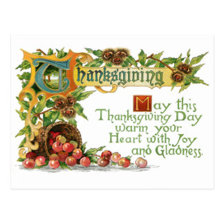 Vintage Thanksgiving Illuminated Greeting Postcards