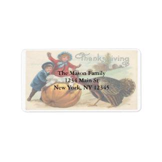 Vintage Thanksgiving illustration Children Turkey Label