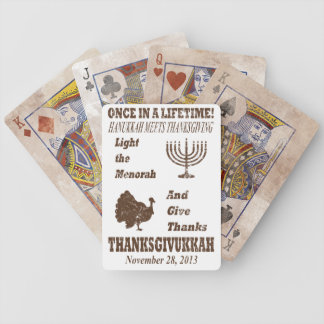 Vintage Thanksgiving Meets Hanukkah Poker Cards