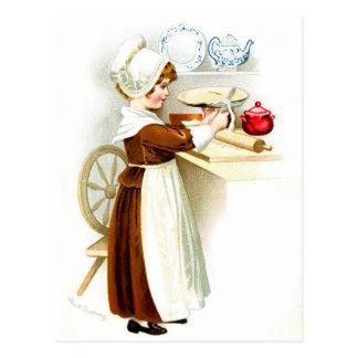 Vintage Thanksgiving - Pilgrim Baking Pie Postcard