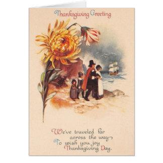 Vintage Thanksgiving Pilgrims Greeting Card
