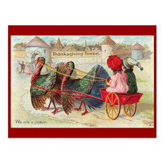 Vintage Thanksgiving Town Postcard