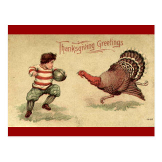 Vintage Thanksgiving Turkey and Boy Postcard