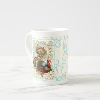 Vintage Thanksgiving Turkey and Cottage Tea Cup