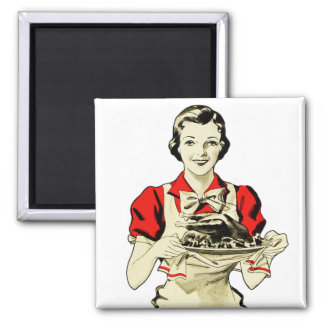 Vintage Thanksgiving Turkey Dinner Housewife Square Magnet