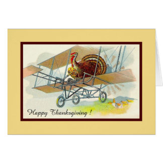 Vintage thanksgiving turkey in airplane card