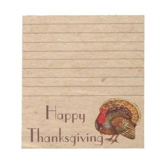 Vintage Thanksgiving Turkey Notepad