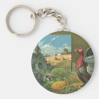 Vintage Thanksgiving, Turkey on the Farm Basic Round Button Keychain
