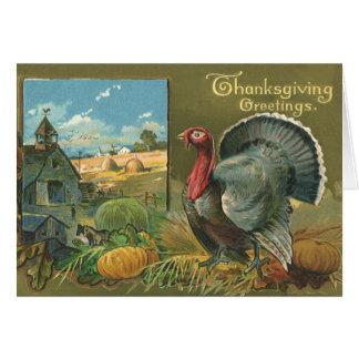 Vintage Thanksgiving, Turkey on the Farm Card