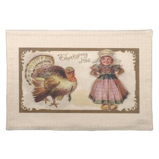 Vintage Thanksgiving, Turkey, Pilgrim Girl Placemat