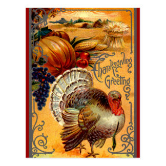Vintage Thanksgiving Turkey Postcard Greeting