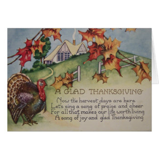 Vintage Thanksgiving - Turkey & Verse Greeting Card