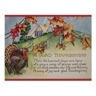 Vintage Thanksgiving - Turkey & Verse Postcard