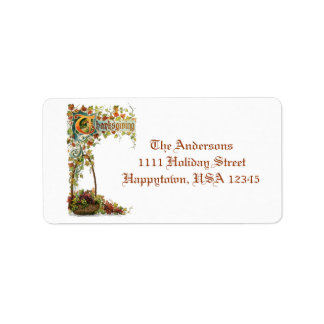 Vintage Thanksgiving Verse and Fall Foliage Custom Address Labels
