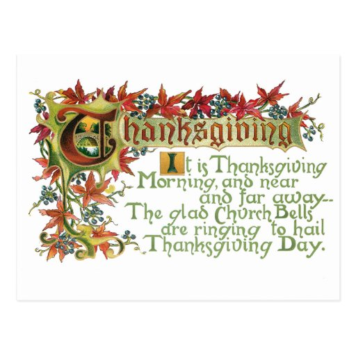 Vintage Thanksgiving Verse and Fall Foliage Postcards