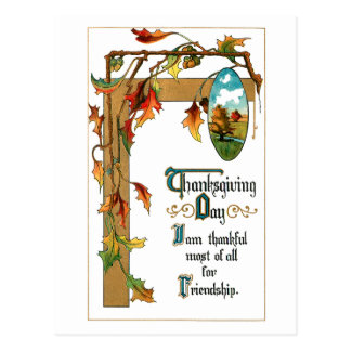Vintage Thanksgiving Verse and Fall Foliage Postcard