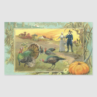 Vintage Thanksgiving with Turkeys and Pilgrims Sticker