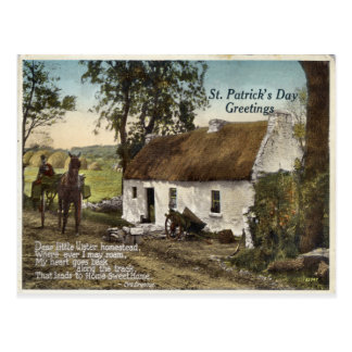 Vintage thatched cottage St. Patricks Day postcard