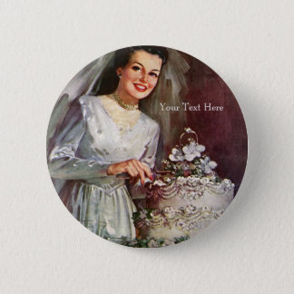 Vintage The Beautiful Bride and Her Wedding Cake 2 Inch Round Button