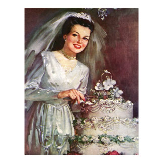 Vintage The Beautiful Bride and Her Wedding Cake Flyer