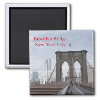 Vintage The Brooklyn Bridge in New York City Square Magnet
