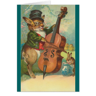 Vintage - The Cello Playing Bunny Card