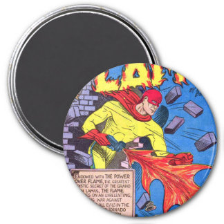 Vintage The Flame Superhero Comic Book Powers 3 Inch Round Magnet