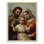 vintage the holy family, Jesus christ, Josef,Mary Posters