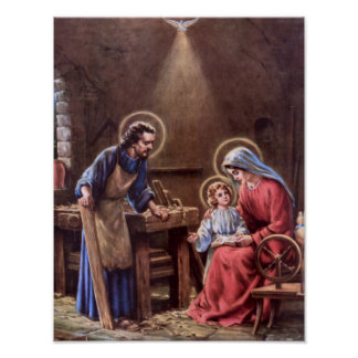 vintage the holy family, Jesus christ, Josef,Mary Poster