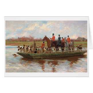 Vintage - The Hunting Party Travels by Boat, Card