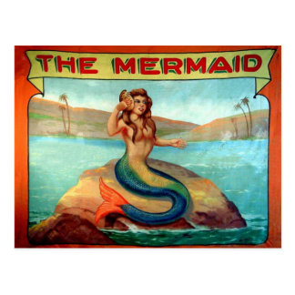 Vintage The Mermaid Circus Show Banner Postcard