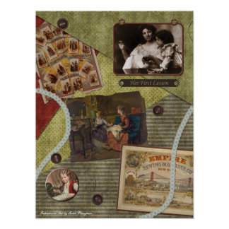 "Vintage ""The Sewing Lesson"" Scrapbook Print"