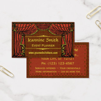 Vintage Theater Curtains Damask Business Card