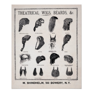 Vintage Theatrical Costume Beards and Wigs Poster