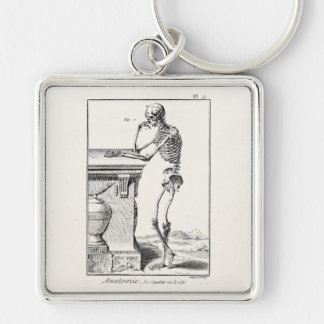 Vintage Thinking Human Skeleton Medical Anatomy Silver-Colored Square Keychain