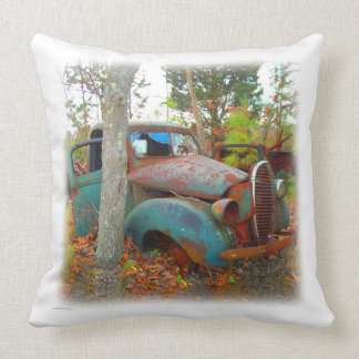 Vintage Thirties Turquoise and Rust Junk Yard Car Throw Pillow