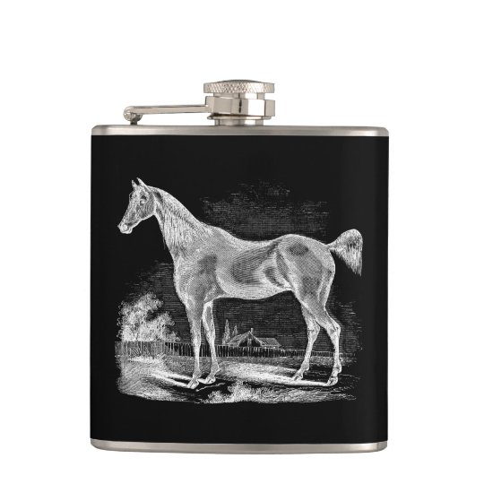 Vintage Thoroughbred Horse Equestrian Personalized Hip Flask
