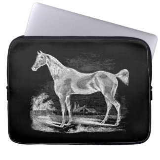 Vintage Thoroughbred Horse Equestrian Personalized Laptop Sleeve