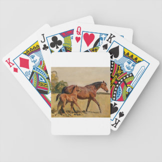 Vintage Thoroughbred Mare and Foal Bicycle Playing Cards