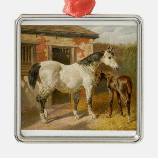 Vintage Thoroughbred Mare and Foal Metal Ornament