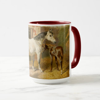 Vintage Thoroughbred Mare and Foal Mug