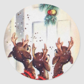 Vintage Three Christmas Reindeer At The Door Classic Round Sticker