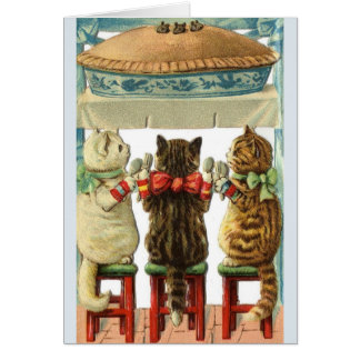 Vintage Three Little Kittens Mouse Pie Note Card