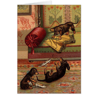 Vintage - Three Mischievous Dachshunds, Card