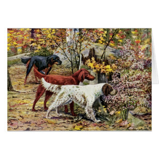 Vintage - Three Setter Dogs in the Woods, Card
