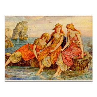 Vintage - Three Women & the Sea, Postcard