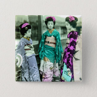 Vintage Three Young Geisha in Old Japan 2 Inch Square Button